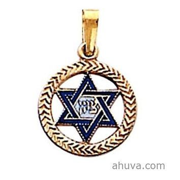 Zion Star Of David Blue Enamel Jewelry Gold Necklace