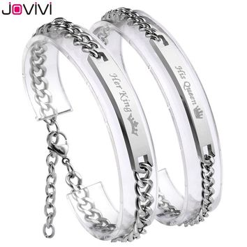 "Cool Newest Jovivi 1-2pc ""Her King+His Queen""Stainless Steel CZ Men Women Couple Curb Bracelet Matching Set Link Chain Wrist BanglesAT_93_12"