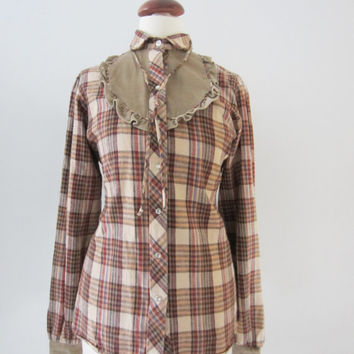 "70s Panhandle Slim ""Kisses"" Plaid Flannel Western Shirt w/ Tuxedo Ruffle and Necktie, S // Vintage Cowgirl Shirt // Cowboy Shirt"