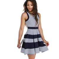 Promo- Navy Picnic Skater Dress