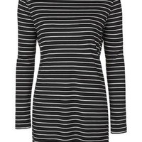 Stripe Contrast Tunic - Black