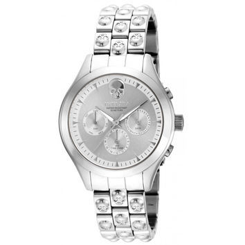 Invicta 16895 Women's Angel Skull Silver Dial Stainless Steel Bracelet Quartz Watch
