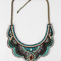 Beaded Scallop Bib Necklace