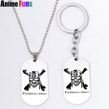 Movie Pirates of the Caribbean Jack Sparrow Choker Necklace Skull Head Keychain Keyring dog tag pendant Charm Gift drop-shipping