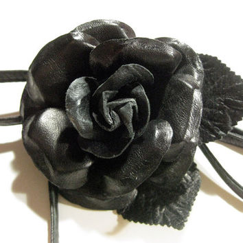 Solid Black Leather Rose Tie Corsage, Multi Use accessory- choker, hair tie, wrap ONLY ONE