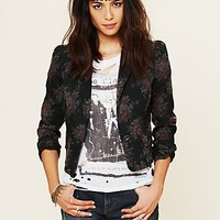 Free People Floral Shrunken Blazer