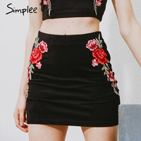 Simplee Flower embroidery suede pencil skirt Vintage high waist short skirts women Christmas sexy bodycon mini skirt