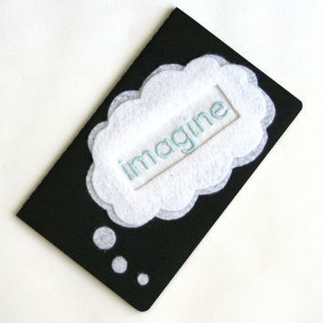journal - imagine - hand embroidered embellished notebook or diary, moleskine cahier