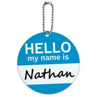 Nathan Hello My Name Is Round ID Card Luggage Tag