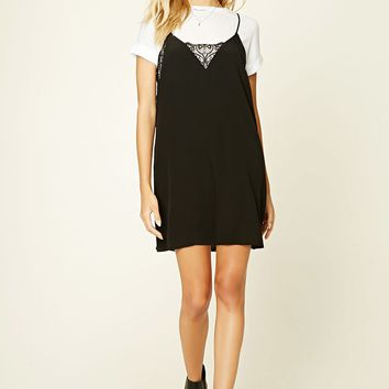 Lace-Trimmed Combo Dress