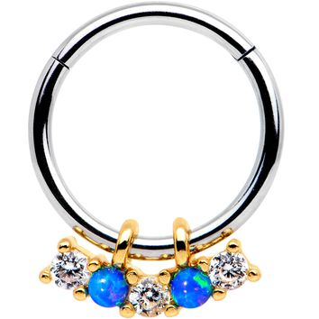 "5/16"" Blue Synthetic Opal Dazzle Hinged Segment Ring Circular Barbell"