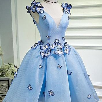 A Line Sky Blue V Neck Sleeveless Junior Homecoming Dress with Butterfly Flowers N918