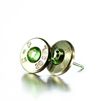 Bullet Stud Earrings - Silver and Light Green