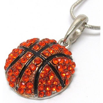 "Crystal 'Bling' Rhinestone Basketball 18"" Necklace"