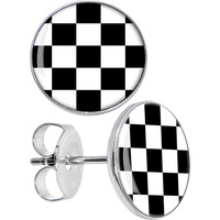 Black and White Checkered Stud Earrings