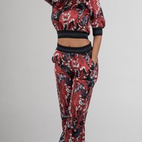 Red and Black Tiger Print Two Piece Set