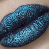SALE - FASCINATION - Dark-Blue Green Metallic - Vegan Matte Liquid Lipstick
