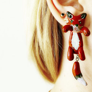 Pair of Real Custom Gauges Plugs 8g, 6g,4g, 0g, 00g, 7/16, 1/2, 9/16, 5/8, 3/4, 7/8, 1 inch earrings red fox, Polymerclay, handmade