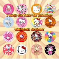HELLO KITTY 1 Inch Pinback Buttons or Magnets Set of 16