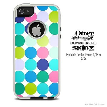 The Large Polka Fun Colored Skin For The iPhone 4-4s or 5-5s Otterbox Commuter Case