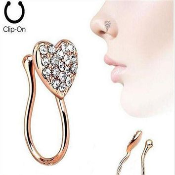 ac ICIKO2Q Stainless Steel Nose Rings Crystal Heart Fake Septum Piercing Gold/Silver Nose Clip On Hoop Fake Nose Rings&Studs  Body Jewelry