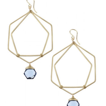 Muse Double Hexagon with Stone Earrings