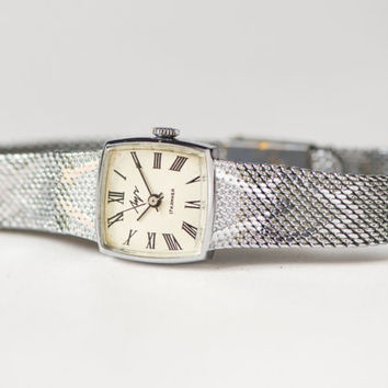 Modern women's watch Ray, lady's watch bracelet, square woman wristwatch, quality mark USSR watch, adjustable bracelet watch Soviet fashion