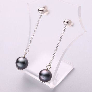 Black Tahitian Pearl Earrings 9-10mm Perfect Round Silver Drop Earrings Fine Jewelry