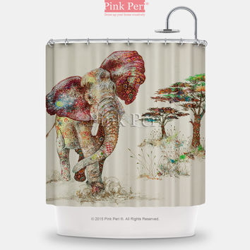 Elephant Art Shower Curtain Free shipping Home & Living Bathroom 137