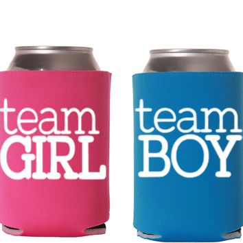 Gender Reveal Team Girl & Team Boy Can Cooler Set Of Two Or More - Baby Announcement Party - Voting Genders - He or She Soon We Will See