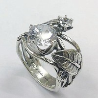 SALE  A Flawless Handmade 2.5CT Round Cut Lab Diamond Engagement Ring