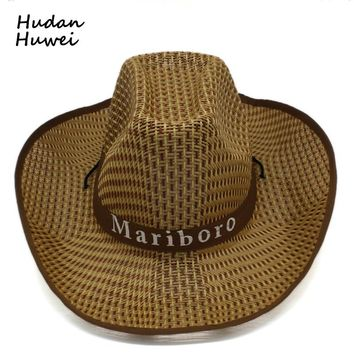 92878b5af5f summer Plaid straw Western Cowboy Hats Trend wide brim Sunhat To