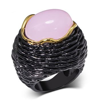 Womens Cute Pink Big CZ Rose Quartz Cocktail Rings Size 6-9