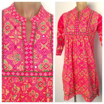 India Mirrored Dress Red Pattern tapered Crop Sleeve Boho Long Tunic Side Slits Hippy Dress Bib Detail Shiny Mirror Shards Below Knee Length