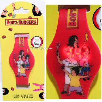 Licensed cool Bob's Burgers Belcher Family Louise Characters LED Digital Rubber Wrist Watch