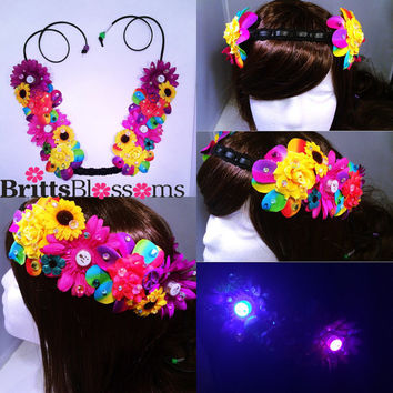 Hippie Blossom Crown, Flower Halo, Flower crown, Flower headband, Festival, Hippie Headband, Coachella, Rave, Bridal
