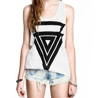 Triangles Printed Round Neckline Sleeveless Tanks