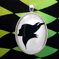 Maleficent Silhouette Disney Cameo Pendant Necklace