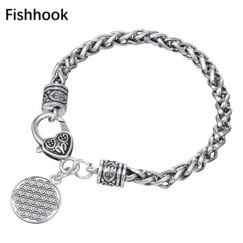 Fishhook Myth Love Knot Flower of Life Egyptian Style Vintage Antique Silver Color Punk Wheat Chain Bracelet Men Or Women