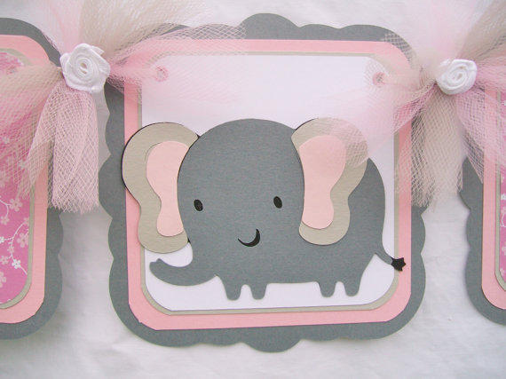Elephant Baby Shower Banner Its A Girl From