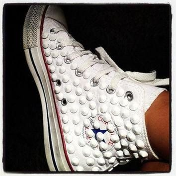 DCCKHD9 Studded Converse, Converse White High Top with White Cone rivet studs by CUSTOMDUO on