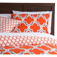 Twin Size Orange Gray Fresh Start 2 Piece Comforter Set