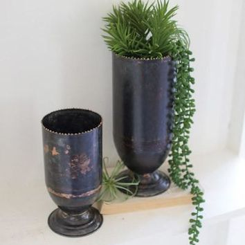 Set Of 2 Black Copper Vases