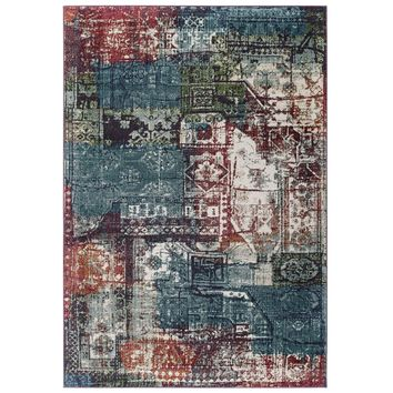 Tribute Elowen Contemporary Modern Vintage Mosaic 8x10 Area Rug