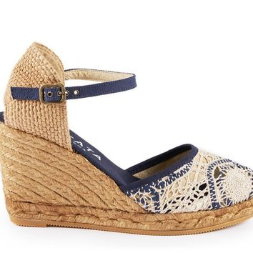 Satuna Crochet Wedges - White Navy