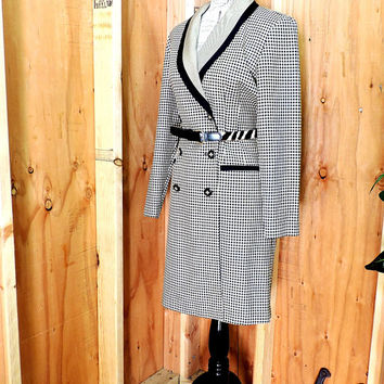 80s houndstooth dress / M 10 / 12 / vintage  tailored coat dress / career long blazer coat / Danny & Nicole New York
