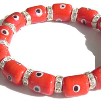 Swarovski Crystal Evil Eye Red Rectangular Bracelet