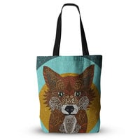 """Art Love Passion """"Colored Fox"""" Blue Orange Everything Tote Bag"""