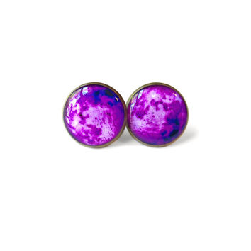 Neon Purple Moon Stud Earrings - Pastel Goth Soft Grunge Pop Culture Jewelry - Hippie Outer Space Jewelry