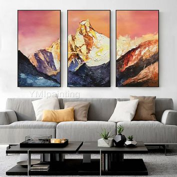 Snow mountains Peaks oil painting on canvas Original 3 pieces texture extra Large Wall Art for living room home cuadros qudraos decoracion